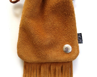 Peanut Butter Suede Coho Stud LoopyQ Fringe Pouch