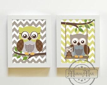 Nursery Decor - Owl Decor - Owl Nursery - Baby Boy Nursery Art - Nursery Wall Art - Baby Nursery Kids Room Decor - Kids Art Boy Print Set