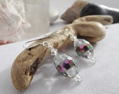 Drop, Dangle Beaded Earrings Made With Egg-Shaped Glass with a Metallic AB Stripe and Swarovski Crystals for Spring, Easter, Summer, Winter