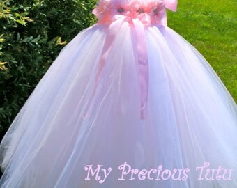 Pink Tulle Dress, Pink Tutu Dress, Pink Princess Dress, Pink and White Tutu Dress, Pink Party Dress by My Precious Tutu
