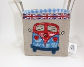 Storage basket with Union Jack fabric VW Camper Van