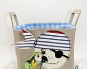 Pirate Boys Bedroom Storage Basket with parrot