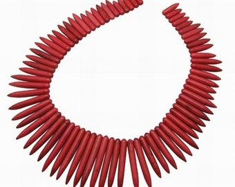 "18"" STRAND Red Howlite Graduated Spike Spear Bead"