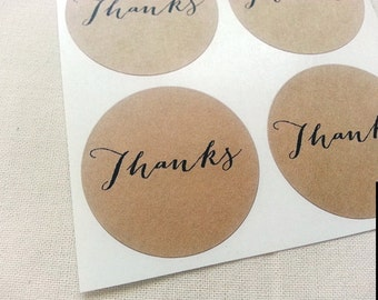 Thanks Round Stickers Circle Labels 1.5-inch Round Envelope Seals Scrapbook Embellishments Calligraphy Thank You