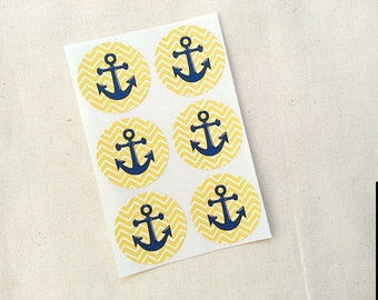 "Yellow Chevron Anchor Stickers Round Labels Envelope Seals 1.5"" Stickers / Nautical Theme Birthday Party Invitations Favors"