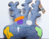 Plushie Felt Zombie Monster - XLarge Plush Toy - Grey