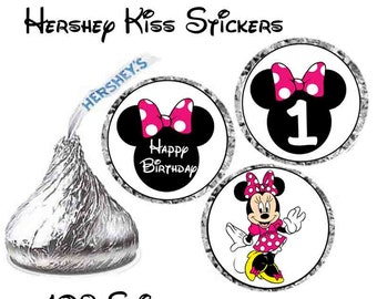INSTANT DOWNLOAD Pink Minnie Mouse Hershey Kiss stickers age 1