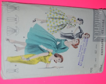 Vintage 50s Butterick 7784 Jr. Miss and Misses Dress -Slim or full skirt Sewing Pattern - UNCUT - Size 11 Bust 29