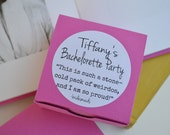 Bridesmaids Bachelorette Favor Kit: 10 Boxes with PERSONALIZED Movie Quote Labels