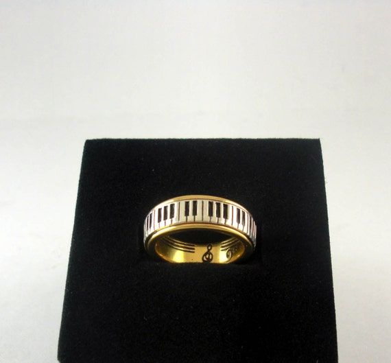 Piano Ring Wide Keys Gold Plated Silver 925