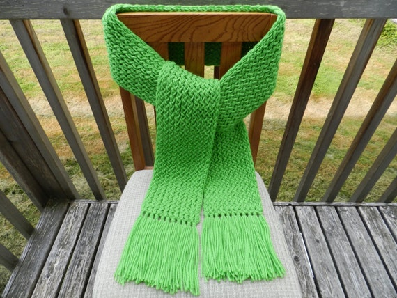 Knitting Loom Scarf Fringe : Green Scarf, Loom Knitted, Mens Scarf, Womens Scarf, Winter Scarf, ...