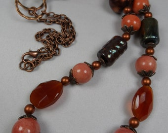 Firey Raku Focals and Round Ceramic Beaded Copper Necklace - 27 Inch Length