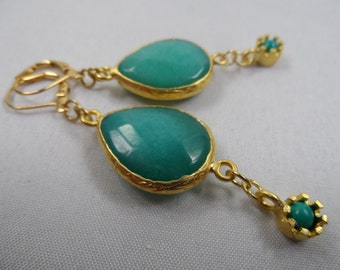 AQUA Jade 22K Matte Gold Bezel and Jade Mini Drop Charm Leverback Earrings - 2.25 Inch Length