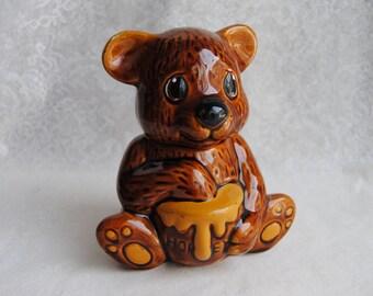 Vintage Collectible Bear Honey Pot/Hand Painted Glazed Ceramic