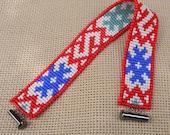 Beadwoven bracelet with traditional ukrainian pattern