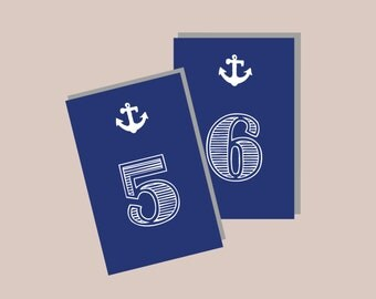 1-20 Instant Download - Nautical Modern Table Numbers in NAVY BLUE White - Modern Design DIY, Wedding reception (1-20), Classic Wedding