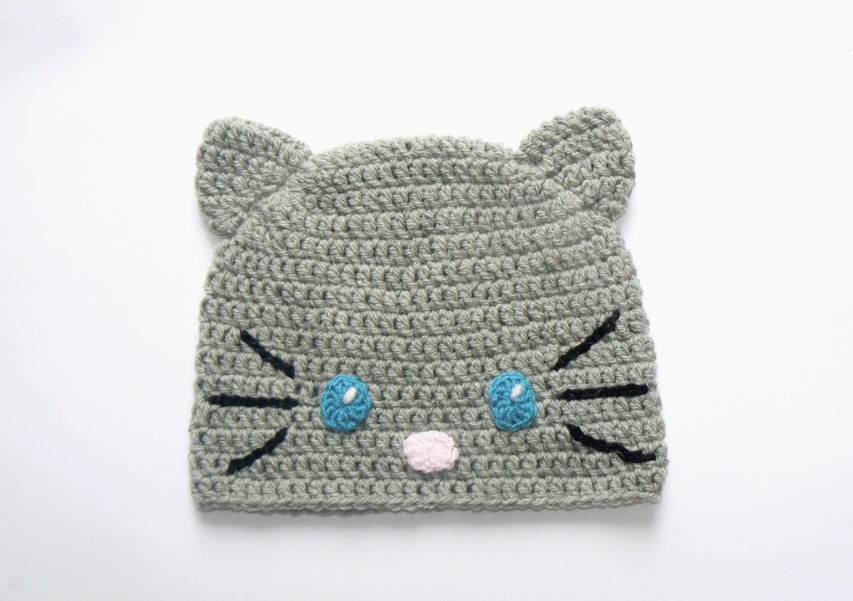 Crochet Animal Hat, Cat Hat, Crochet Beanie, Cat Ears Hat ...