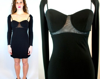 GOTHIC 90s Mesh Sheer Cut Out Bandage Bodycon Black Mini. Vintage Grunge Frederick's of Hollywood Boho Dress Long Sleeve Extra Small - Small