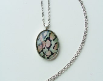 CLEARANCE - Pink and black oval pendant necklace - metal and glass jewelry - oval glass pendant - pink and black necklace