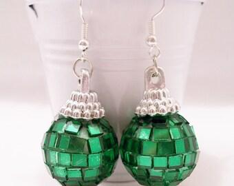 Dark green mini mirror/disco ball earrings - mirror ball earrings - disco ball earrings - mini mirror ball jewelry - sparkly jewelry