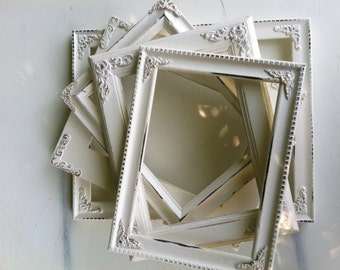 Set of 5 Ornate Picture Frames, 8 x 10 & 5 x 7, 4 x 6  Baroque, White, Shabby Chic, Distressed Frames, (Los Angeles)