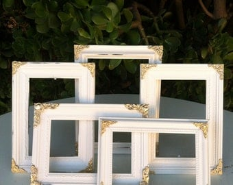 Set of 5 Ornate Picture Frames, 5x7, 4x6  Baroque, White & Gold, Shabby Chic, Distressed Frame,Wedding Frames, Nursery Decor, (Los Angeles)
