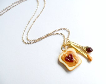 Peanut Butter & Jelly Heart Necklace, Cute :D