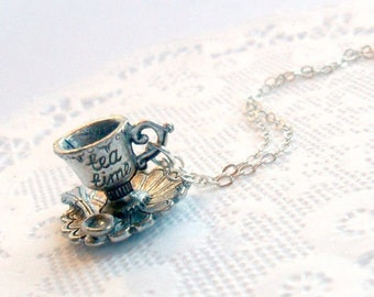 Tea Time Alice in Wonderland Necklace, 925 Sterling Silver Chain, Cute And Kawaii :)
