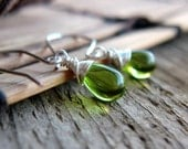 Green Olive Drop Earrings Silver Wire Wrapped Glass Teardrops - CaterpillarArts