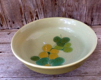 Franciscan Earthenware Green Pebble Beach Pattern Serving Bowl - Vegetable Bowl - 1960s - Vintage Serving Dish