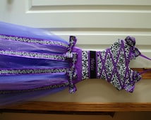 Personalized tutu hairbow holder: damask, chevron, owl or floral patterns, additional patterns/colors available by request