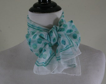 1980s Sheer Aqua Dot Oblong Scarf