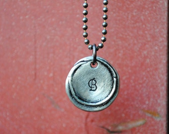 Wax Seal Monogram Necklace, Pewter Pendant on a Copper Ball Chain, Choose Your Letter