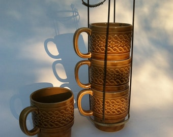 Yellow Gold coffee Mugs with Metal Caddy  Made in Japan