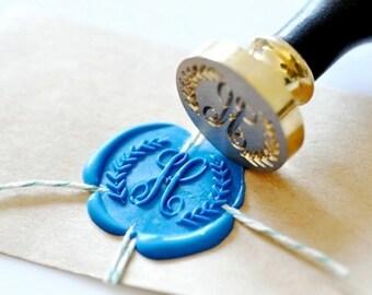 B20 Wax Seal Stamp Personalized Custom Initial Wreath Monogram