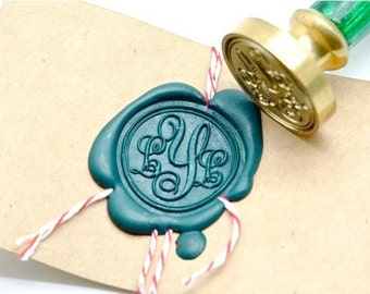 B20 Wax Seal Stamp Personalized Wedding Custom Triple Initials Monogram