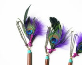 bohemian hair stick (1) - mix of feathers, stones, charms on wood