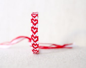 Hearts Friendship Bracelet Red and White Valentine's Day Gift / Stocking Stuffer Womens Gift