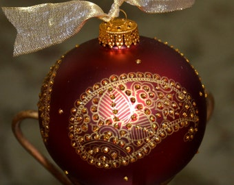 Hand Painted Paisley Ornament Maroon Glass Bulb