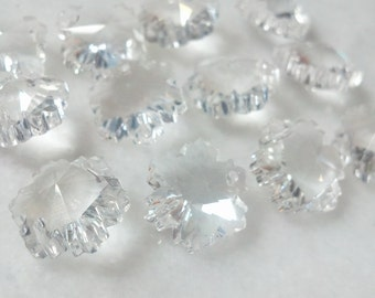 25 Clear 14mm Chandelier Crystal Snowflakes TWO HOLES Beads Crystal Shabby Cottage Chic Crystal Prisms