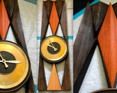 EAMES GEORGE NELSON style Mid Century Modern Mad Men Clock Googie Atomic Space Age Orange Retro Diamond Motif Welby brass face super rare