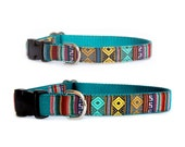 Ethnic dog collar & dog leash Small dog collar Large dog collar Southwestern emerald geometric dog collar Mexican Tribal Aztec pet collars