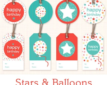 Printable Birthday Gift Tags - Instant Download Digital Gift Labels - Blue and Red - Balloons and Stars