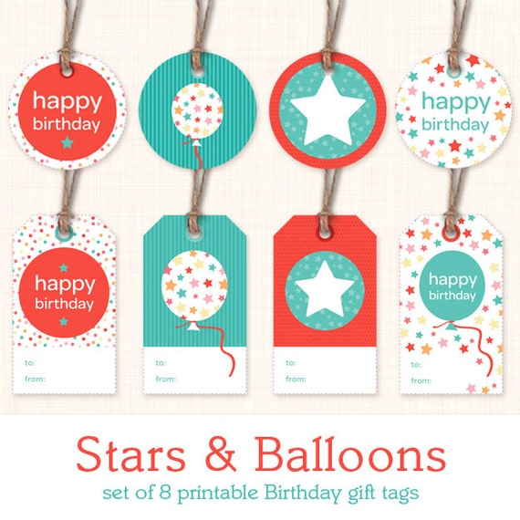 Printable Birthday Gift Tags Instant Download By LisaSengStudio