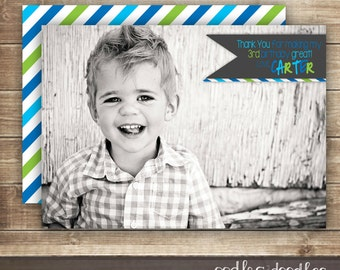 Birthday Thank You Card / 1st, 2nd, 3rd Birthday Photo Thank You Card, Blue & Green Stripes - Printable Digital File or Printed