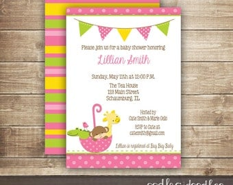 Baby Girl Shower Invitation / Animals & Umbrella Baby Shower or Sprinkle  / Pink, Green, Yellow / Baby Sprinkle, Printed or Printable