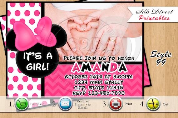 Invitación de ducha de bebé Minnie Mouse, Minnie Mouse Baby Shower