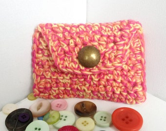 Coin Purse, Pink and Yellow, Hand Crocheted, Ladies Wallet, Chunky Yarn, Small Purse, Purse with Button, Knitted Purse, Made in Scotland