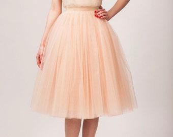 Tulle skirt, long petticoat, high quality tutu skirts, tulle tutu, tealength tutu, long skirt, champagne skirt, women's clothing