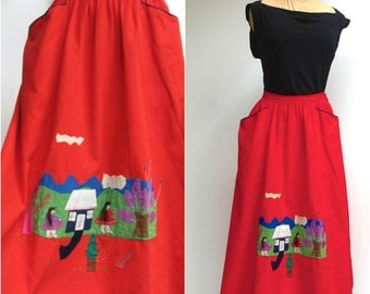 Folk Skirt / Red Peasant Circle Skirt with Hand-stitched detail / extra small or small